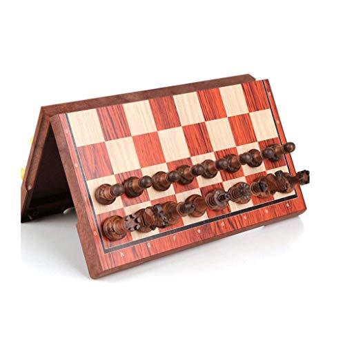 SBDLXY Ajedrez Juego de ajedrez de Madera magnética con Tablero de ajedrez Plegable Juguetes educativos para niños y Adultos, Tablero de ajedrez con Ranuras de Almacenamiento Juego de ajedrez (Colo