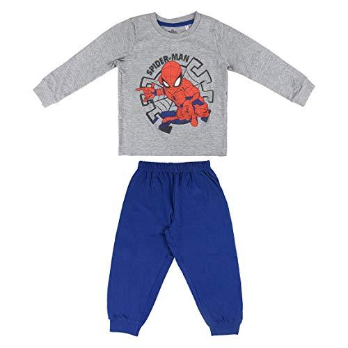 Artesania Cerda Pijama Largo Single Jersey Spiderman Conjuntos, Gris (Gris C13), 2 Años para Niños