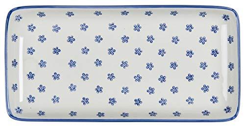IB Laursen - Teller, Servierteller - Casablanca Bloom - Steingut - Blau - 12,5x3x25cm