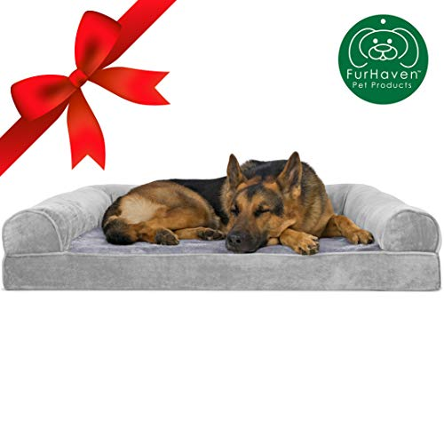 FurHaven Pet Dog Bed   Orthopedic Faux Fur & Velvet Sofa-Style Couch Pet Bed for Dogs & Cats, Smoke Gray, Jumbo