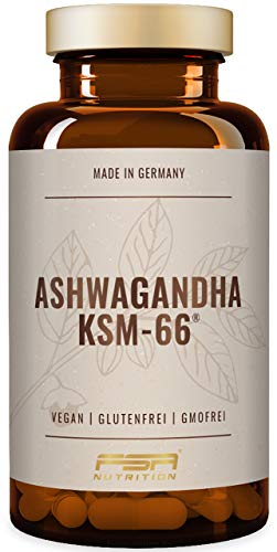 Ashwagandha KSM-66 organisch, 500 mg pro Kapsel, 5% Withanolide, 90 Kapseln, Vegan - Hergestellt in Deutschland - FSA Nutrition