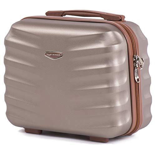 Wings Geräumiger Kabinentrolley - Leichter Flugzeugkoffer - Luxuriöser und moderner Koffer Kosmetikkoffer Kosmetiktasche (Champagne, Kosmetikkoffer)
