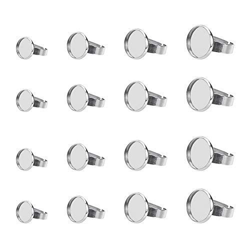 30pcs Stainless Steel Finger Rings Components with 30pcs Glass Cabochons(8mm Flat Round Ring Blanks Kits for Unisex Ring Making UNICRAFTALE 60pcs Adjustable Finger Rings Making DIY