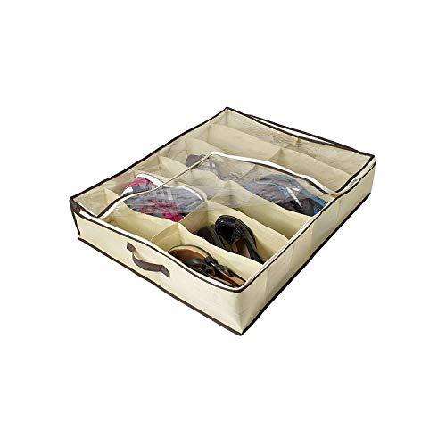 Fostudork, contenitore per scarpe sotto il letto, 2 pezzi per 24 paia di scarpe, in materiale robusto e traspirante, per armadio, sotto il letto, con coperchio trasparente