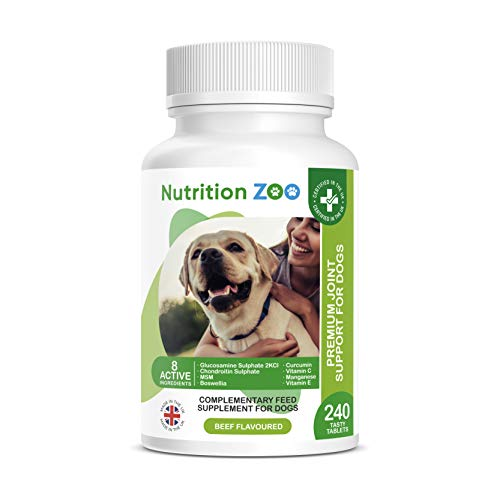NutritionZoo 240 Glucosamine for Dogs Tablets Dog Joint Care Supplements - Joint Supplements for Dogs Premium Glucosamine and Chondroitin for Dogs 240 Glucosamine Dog Tablets