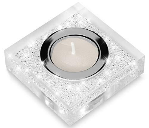 Edler Teelichthalter Lotus 1 mit SWAROVSKI ELEMENTS Kristallen - funkelnde Tischdeko (transparent)
