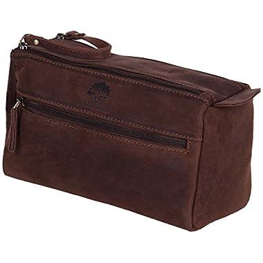 Genuine Leather Travel Toiletry Bag - Hygiene Organizer Dopp Kit By Rustic Town