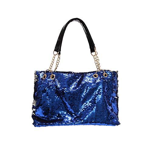 FENICAL bolso de mano bolso de lentejuelas con cremallera bolso de hombro con purpurina bolso de asa superior para mujeres damas niñas - azul
