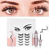 Magnetische Wimpern, 5 Paar Magnetisc Eyeliner-Set, Mehrfachauswahl, Handgemachte Falsche Eyelashes, Langlebiges, Nicht Blühendes