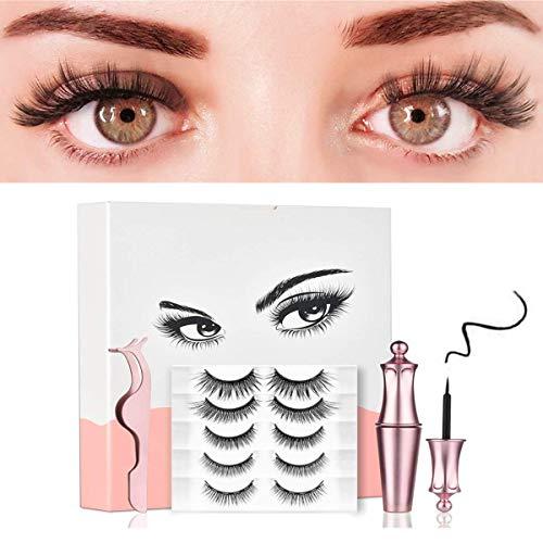 Magnetische Wimpern, 5 Paar Magnetisc Eyeliner-Set, Mehrfachauswahl, Handgemachte Falsche Eyelashes, Langlebiges, Nicht Blühendes, Wiederverwendbares Augen Make-up Set
