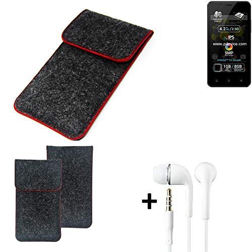 K-S-Trade® Handy Schutz Hülle Für Allview P4 Pro Schutzhülle Handyhülle Filztasche Pouch Tasche Case Sleeve Filzhülle Dunkelgrau Roter Rand + Kopfhörer