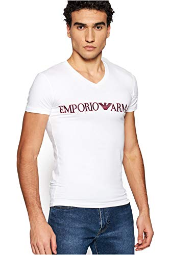 Emporio Armani Underwear T-Shirt Megalogo, Bianco, XXL Uomo