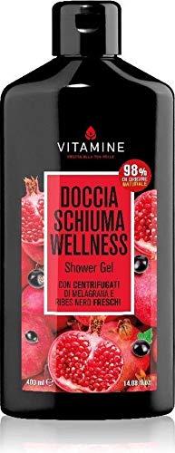 Vitamine Espuma de ducha Wellness con centrifugado de granada y grosella negra frescos.