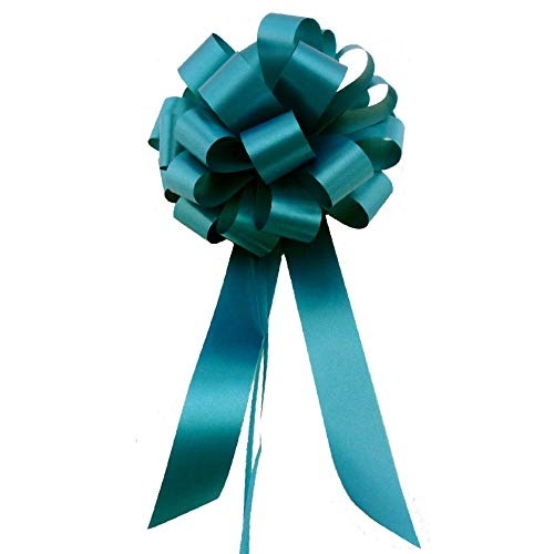 "Teal Pull Bows with Tails - 8"" Wide, Set of 6"