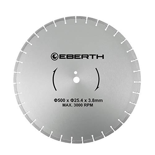 EBERTH Profi Diamanttrennscheibe Diamantscheibe universal Trennscheibe für Nass- und Trockenschnitt (500 mm Durchmesser, Bohrung 25,4 mm, Blattstärke 3,8 mm, U/Min. max. 3000)