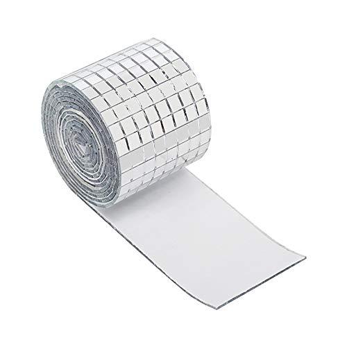Modonghua Mini cuadrado de cristal resistente al agua, autoadhesivo, portátil, superficie de espejo, fiesta, bricolaje, mosaico, azulejos decorativos para baño, artesanías hechas a mano (plata)