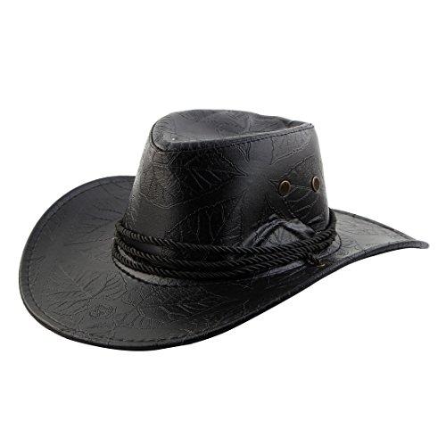 sourcing map Sombrero Cowboy Gorro Correa para El Cuello Ajustable Patrón De Hojas De ala Ancha Al Estilo Occidental Negro