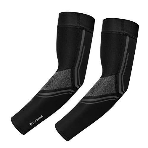 Abaodam 1 par de mangas de brazo protección solar transpirable ciclismo codo soporte manga tamaño L