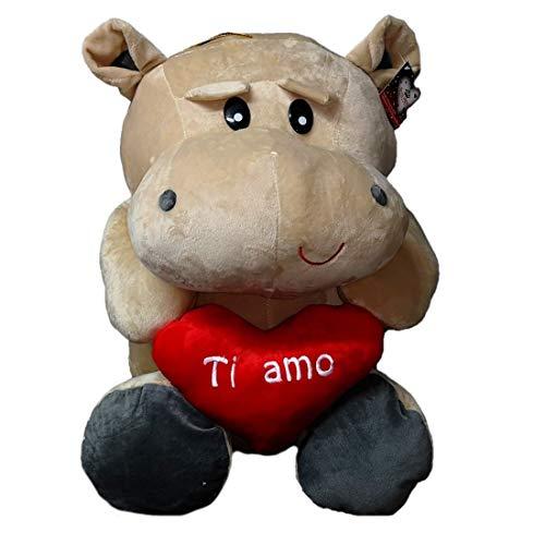 Dor Peluche Ippopotamo - San Valentino con Cuore E Scritta Ti Amo 55 cm