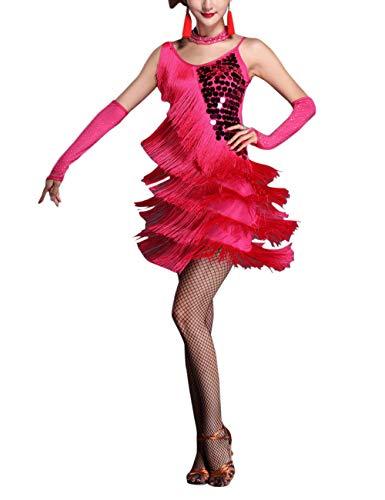 besbomig Erwachsene Sexy Abendkleider Quaste Pailletten Salsa Tango Latein Kleid - Damen Ballroom Partykleider