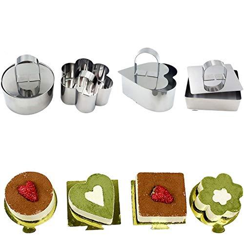 Worsendy Dessert Ring,Kuchen Form Kuchen Schimmel Edelstahl Essen Kochen Präsentation Ringe Form 4 Stück Set enthält und 4 Lebensmittel Pressen