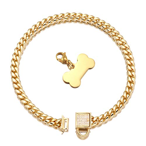 Gold Dog Chain Collar with Tag and Ice-Out Cubic Zirconia Stones Secure Buckle 18K Metal Stainles Steel Cuban Link Chain 6MM Heavy Duty Walking Training Collar for Puppy Kitty (6MM, 12')