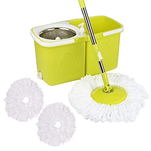NEEZ Fregonas y Cubos, Cepillos y mopas, Productos y Utensilios de Limpieza, Cubo superfácil, Menos Esfuerzo a la Hora de escurrir (Fregona y Cubo Limón)