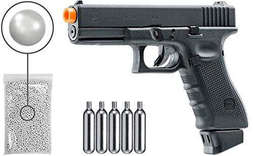 Umarex Glock G17 Gen4 C02 Blowback - BLK Airsoft Pistol with Included 5x12 Gram CO2 Tanks and Wearable4U Pack of 1000 6mm 0.20g BBS Bundle