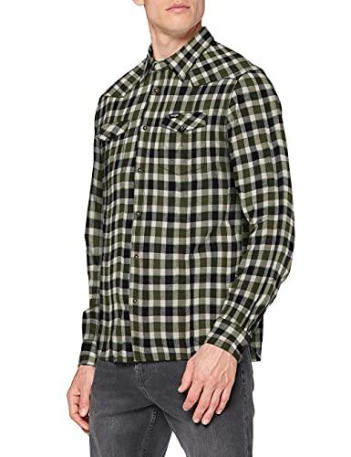Wrangler LS Western Shirt Camisa, Verde absenta, L para Hombre