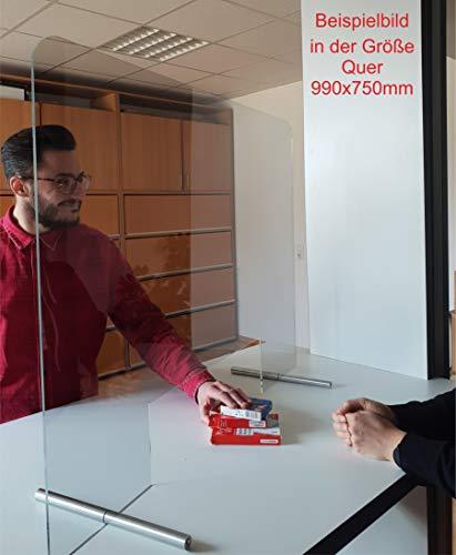 Manschin Laserdesign Acryl Schutzschild | Niesschutz | Spuckschutz | Thekenaufsteller | Schutz gegen Tröpfcheninfektion bei Virus 750x500mm (500x750mm Querformat) - 3