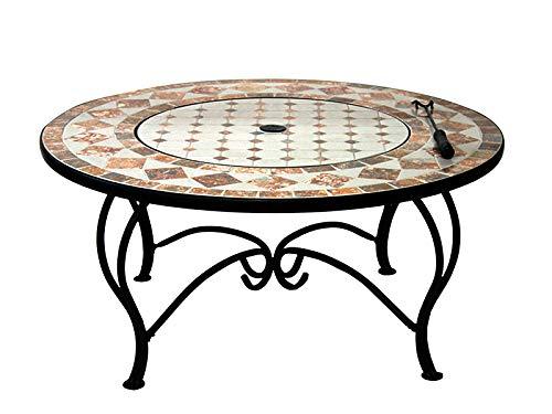 PURLINE Mesa de Centro Redonda de cerámica y mármol con brasero y Barbacoa EFP54