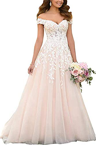 PROMLINK Lace Applique Wedding Dress Off Shoulder A Line Ball Gowns for Women 2021,Ivory,2