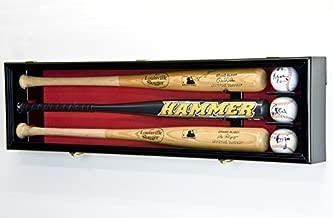 3 Baseball Bat Display Case Cabinet Holder Wall Rack Custom Options 98% UV - Lockable (Black Wood Finish, Red Felt - Horizontal Mounting)