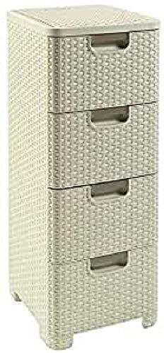Preisvergleich Produktbild CURVER Regal mit 4 Schubladen STYLE Regal mit 4 Schubladen,  Polypropylene,  cremig,  33x38x79