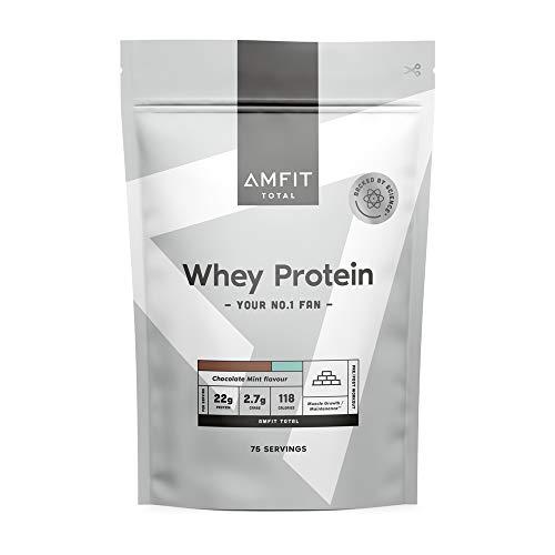 Marca Amazon - Amfit Nutrition Proteína de Suero Lácteo, Sabor Chocolate y Menta, 2.27 kg