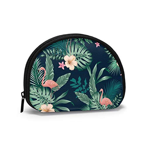 Vector Seamless Tropical Pattern With Lush Foliage, Flowers, Pink Flamingos Women Girls Shell Cosmetic Make Up Storage Bag Outdoor Shopping Coins Wallet Organizer