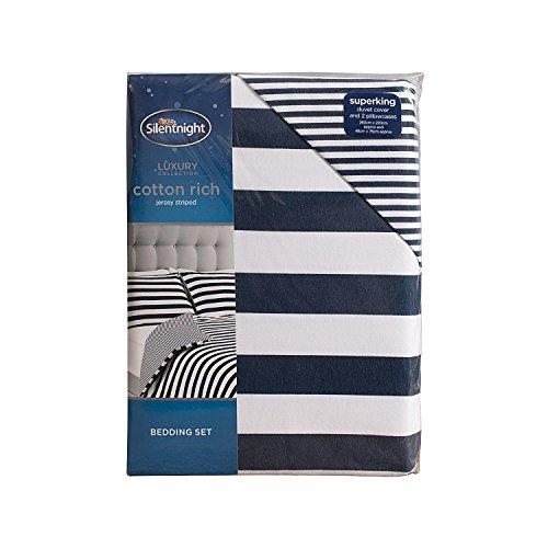 Silentnight Jersey Stripe Duvet Set, Navy, Double