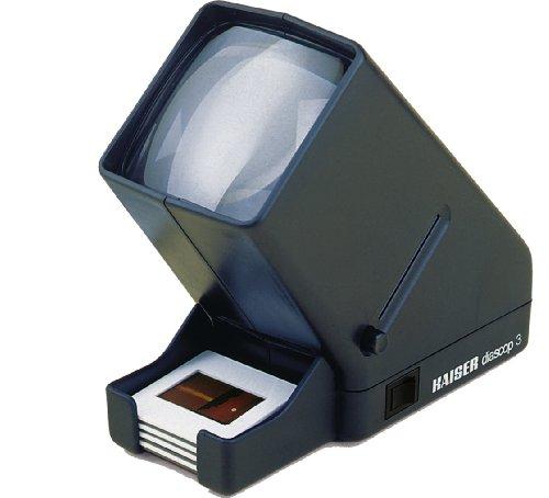Kaiser KA2005 - Visor de Diapositivas Diascop 3 (76 x 76 mm, 2.5V, 0.3A, E10, 8 cm x 16 cm x 17 cm, Lente Doble), Negro
