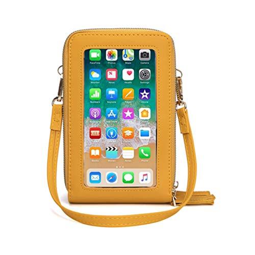 Fanshu Bolso de teléfono celular para mujer con correa de hombro Mini cartera titular de la llave de la moneda, monedero, bolsa de embrague con pantalla táctil transparente ventana