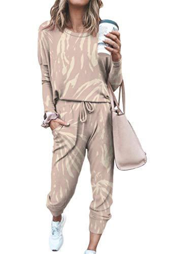 Fixmatti 2 Piece Pajamas Set Tie Dye Sweatpants and Long Sleeve Shirt for Women 2XL