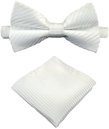 Louis Binder de Luxe Pajarita con pañuelo de bolsillo y caja de almacenamiento, juego de 2 pajaritas de corbata, Blanco, Talla única