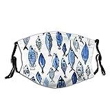 Reebos Cara de tela unisex Ma-sk acuario azul peces cara co-ver con bucle ajustable bandanas lavable boca cubierta para exteriores, deportes, compras