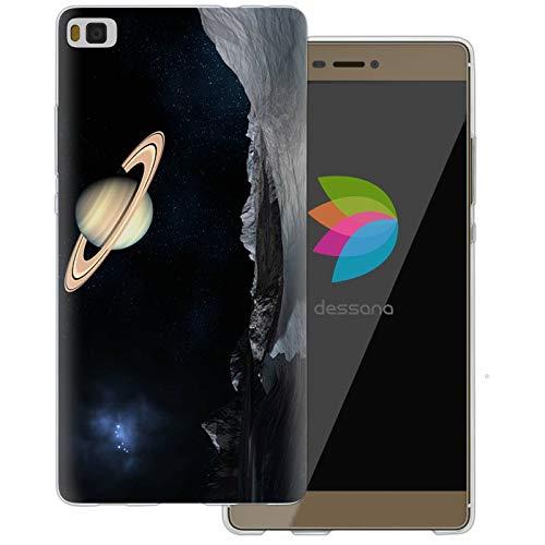 dessana Universum transparente Schutzhülle Handy Case Cover Tasche für Huawei P8 Weltraum Saturn