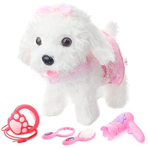 deAO Interaktives elektronisches Hunde Spielzeug mit Abnehmbarer Leine, Lauf- und Berührungserkennungsfunktionen – ideal für Kinder mit Haartrockner und Zubehör