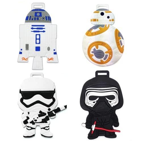 4 etiquetas de equipaje para Star Wars, dibujos animados anime viaje maleta ID etiquetas, Abcd, Talla única,