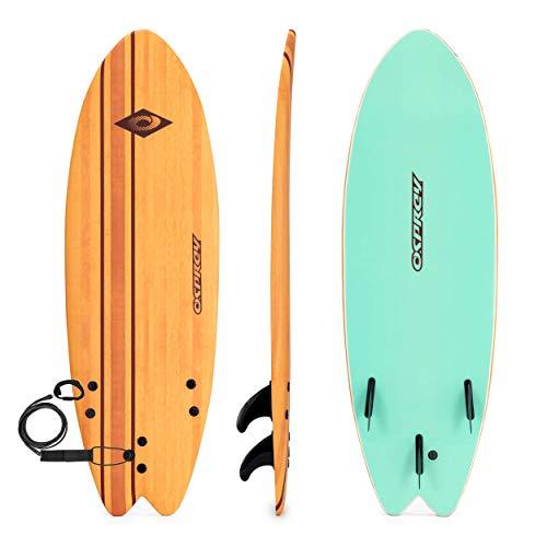 Osprey Pin Stripe Tabla de Surf de Espuma Suave con Correa y Aletas, Efecto Madera, 5.9 pies