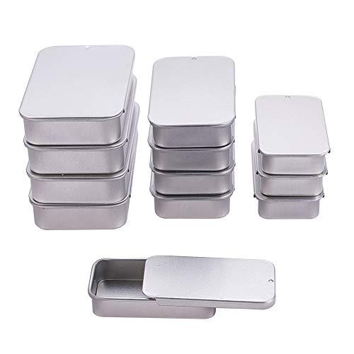 BENECREAT 12 Pack Latas de Metal Estañado con Tapa Deslizante Rectángulas de 3 Tamaño Mixto Caja Metálica para Almacenamiento de Cosas Pequeñas