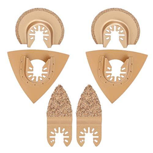 6 hojas de sierra de aleación dura, hojas de sierra multifuncionales, herramienta oscilante, suministros de hardware para trabajar la madera, para moler baldosas de cerámica de plástico