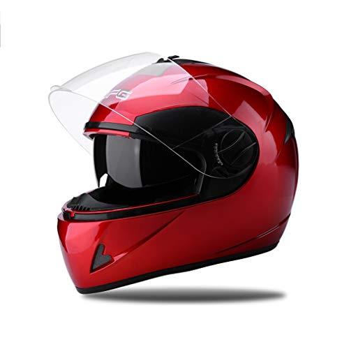 SMC Batterie électrique Casque de Moto pour Hommes et Femmes Poids léger Quatre Saisons Universel Anti-buée Hiver Chaud Plein Casque Couvrant (Color : Red, Taille : No Anti-Fog)