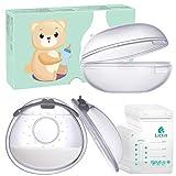 Lictin Brustschalen Set - Brustwarzenschutz Milchauffangschale Mit weich und wiederverwendbar Stilleinlagen (2 Stück) Mit 10 Muttermilchbeutel